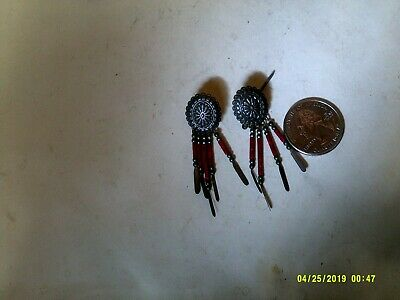 Vintage Q.t. Signed Sterling Native American Pierced Earrings