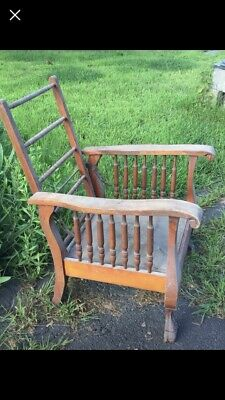Antique Morris Manual Recliner Chair Carved w Spindles & Claw Feet