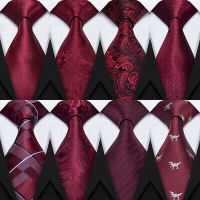 USA Mens Red Burgundy Silk Tie Set Striped Solid Plaid Paisley Father's Day Gift