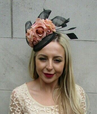 Black Nude Latte Rose Floral Flower Feather Hat Hair Fascinator Races Ascot 7203