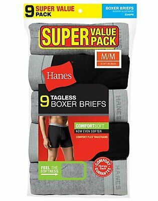 Hanes Mens Boxer Briefs 9-Pack Comfort Flex Waist 100% Cotton Value Underwear