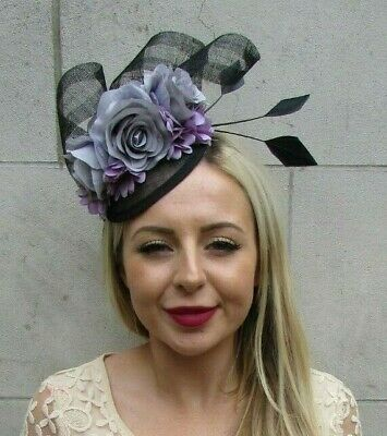 Black Grey Lilac Purple Floral Flower Feather Hat Hair Fascinator Races 7222