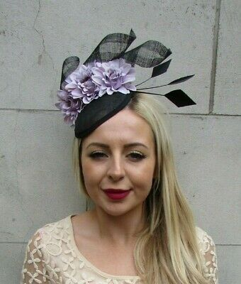 Black Lavender Light Purple Lilac Floral Flower Feather Hat Hair Fascinator 7228