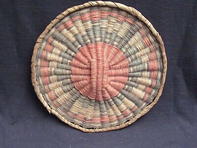 "Colorful Hopi Wicker Basket 9"", Excellent Condition"