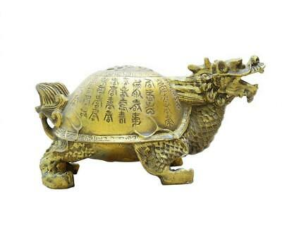 FengShui Chinese Pure Brass Copper 100 Shou Longevity Dragon Turtle Statue