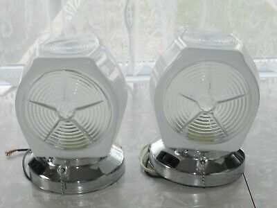 Vtg Art Deco Pair White Frosted Glass Chrome Wall Vanity Light Fixtures