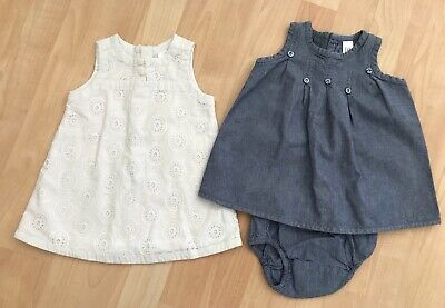 b5d0b5b34c9 Girls Baby Gap 3-6 Months Dress Lot Blue Chambray White Eyelet Design Summer