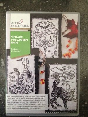 Anita Goodesign Vintage Halloween Bags Project Collection  Embroidery Design CD