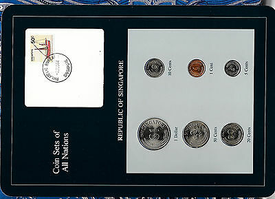 Coin Sets of All Nations Singapore UNC w/card 1981-1984 1, 50 cents 1982 $1 1981