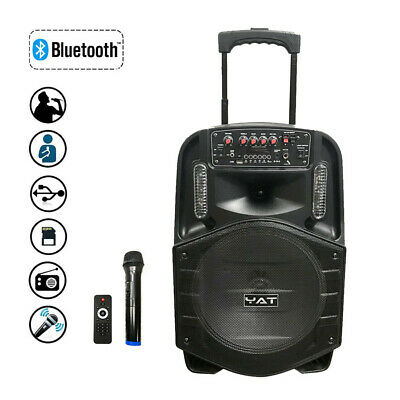 "Bluetooth Trolley Speaker Audio USB TF BT Karaoke/USB/TF/AUX/FM Woofer 12"" 80122"