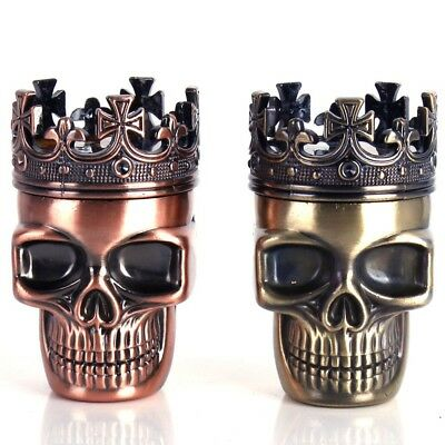 Metal Tobacco Herb Spice Grinder King Skull 3 Layers Crusher Hand Muller