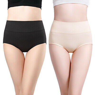 Womens Cotton High Waist Postpartum Underwear Brief Panties-1 Black+1Nude