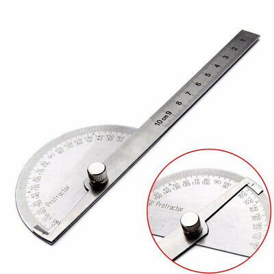 Ruler Protractor Tool Silver Measurement 10cm Stainless Steel 180 degree 180°