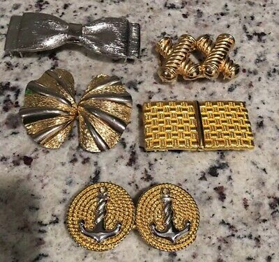 Beautiful Lot of Vintage Womens Belt Buckles Talbots + More Gold and Silver Tone