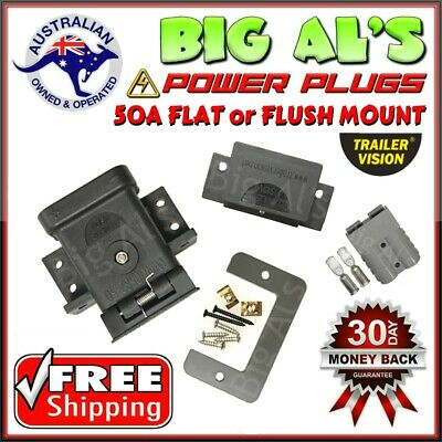 50Amp Trailervision Anderson FLUSH FLAT Mounting Mount Cap Cover + 1 Grey Plug