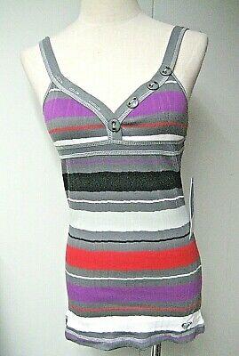 NWT ROXY Women Veronica Stripe Tank top, size XS & S, Dk gray Multi
