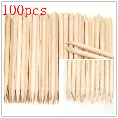 100Pcs Nail Art Cuticle Pusher Remover Pedicure Manicure Orange Wood Sticks Tool