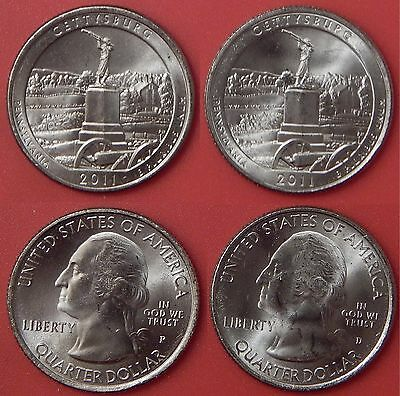 Brilliant Uncirculated 2011 P & D US Gettysburg 25 Cents From Mint's Rolls