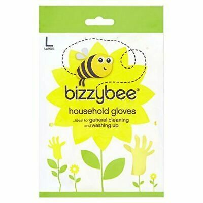 Bizzybee Longer Lasting Household Rubber Gloves Large Washing Up Glove Pack 6
