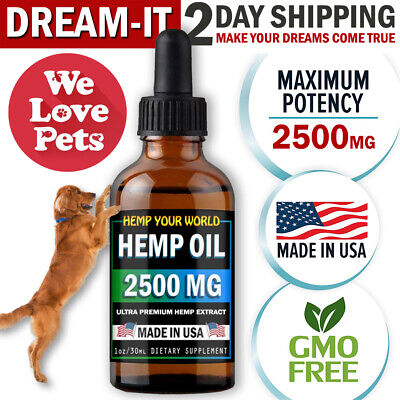 2500mg Hemp Oil for Dogs and Cats Hemp Oil for Pets Pain Relief Stress Anxiety