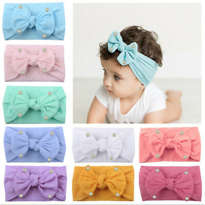 Baby girls kids toddler bow hairband headband stretch turban knot head wrap KY