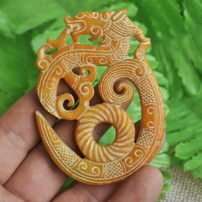 Chinese ancient old hard jade hand-carved pendant necklace ~dragon M29