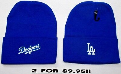READ LISTING! Los Angeles Dodgers HEAT Set Flat Logos on 2 Beanie Knit Cap hat!