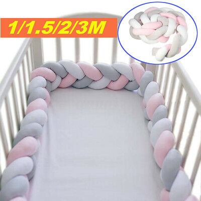 1M/1.5M/2M/3M Baby Infant Plush Crib Protector Bumper Bed Bedding Pillow Knot