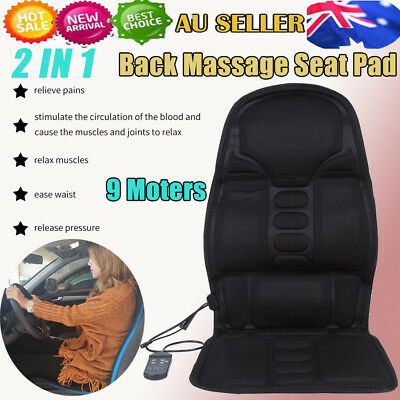 8 Modes Massage Chair Heated Back Seat Massager Cushion Car Home Relax Stress AU