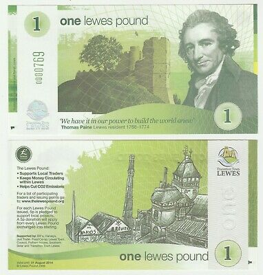 UK England - Lewes £1 1 Pound 2009 UNC Local Currency Banknote - Brewery