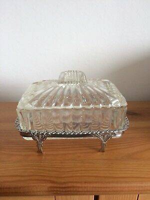 Butter Dish Vintage Glass Silver Plated Footed