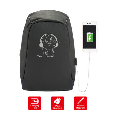 Anti-Theft Laptop Backpack School Travel Business Shoulder Bag USB Charging Port