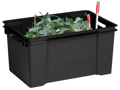 10 x 50 Litre Stack Nest Large Black Plastic Storage Boxes Containers Crates