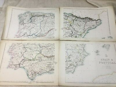 Antique Map of Spain Portugal Europe Old Hand Coloured 19th Century LARGE Maps
