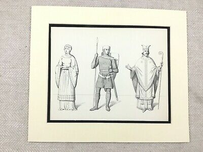 Vintage Costume Print 12th Century Medieval German French Bishop Suit of Armour