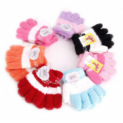 Thick Warm Winter Striped Baby Mittens Cuffed Knitted Gloves Soft Kid Perfect