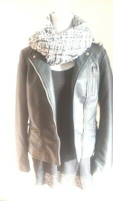 detailed look 005ca 8b4d7 GIACCA PELLE DONNA Nera Ecopelle Only Tg M 42 44 Nuova Top Nero Sisley +  Sciarpa