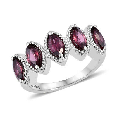 5 Stone Ring Stainless Steel Marquee Rose Garnet for Women Size 5 Ct 2.25