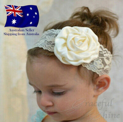 8 Colours BABY HEADBAND NEWBORN TODDLER FLOWER GIRL LACE CHRISTENING HAIR BAND