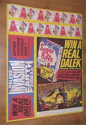 1966 DALEKS INVASION EARTH Sugar Puffs PROMO poster REPO Peter Cushing DR.WHO