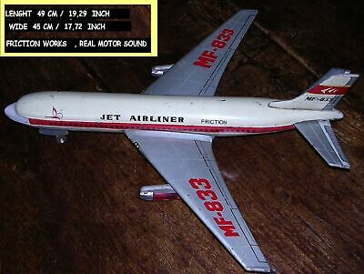 BLECH 1960 TIN TOY BOEING JET AIRLINER ,CHINA 514 MF-833,FRICTION, 49 cm