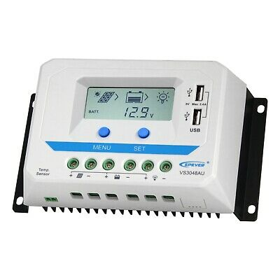 30A solar panel charge controller / regulator with LCD display and dual USB port