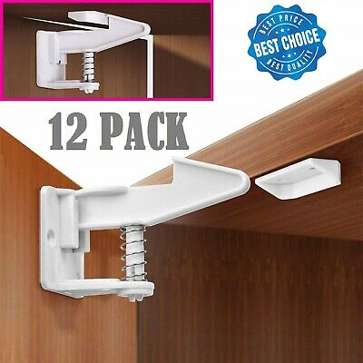 12 x Child Safety Cabinet Locks, Baby Cupboard Locks for Drawers Kitchen Cabinet