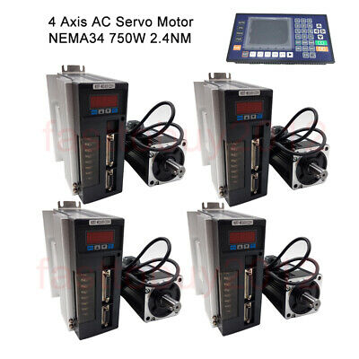 4Axis 750W AC Servo Motor 2.4NM 220V Driver Kit NEMA34&CNC Controller For Router