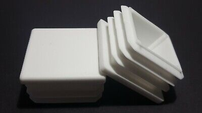 40x40mm -100 Square Plastic White Blanking End Caps Tube Pipe Inserts Plug Bung