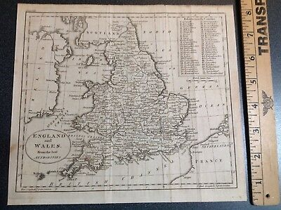 642 Vintage Antique Map England Wales C.1800 From The Best Authorities Copper