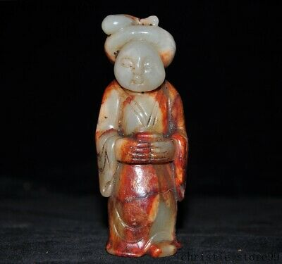 Antique Chinese natural Hetian jade Carved Tang Dynasty Lady beauty Belle Statue