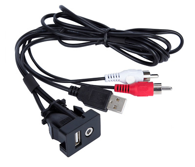 Car RCA Cable Adapter Switch 3.5mm Audio Jack AUX USB Cable Extension Dash Mount