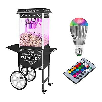 Retro Popcorn Machine Popcorn Maker Cart Carnival Cinema Black 1600 W 6Kg/H