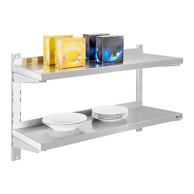 Wall Shelf 2 Shelves Easy Mounting And Adjustable Durable Stainless Steel 80Cm